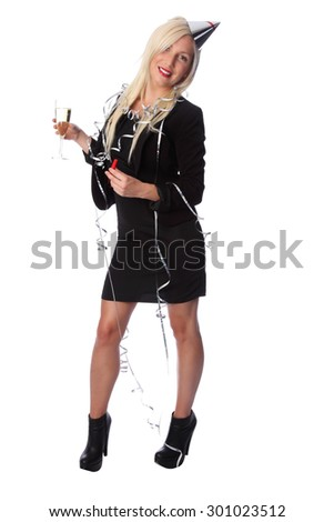 Attractive woman in a party dress with hat and party horn blower. Having a a party. White background. - stock photo