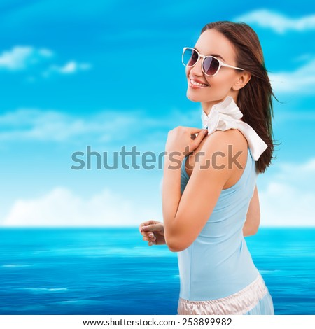 attractive woman in a summer dress - stock photo