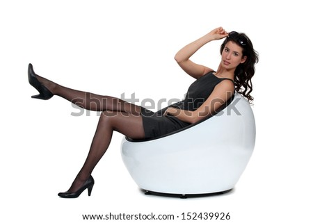 Attractive woman in black - stock photo