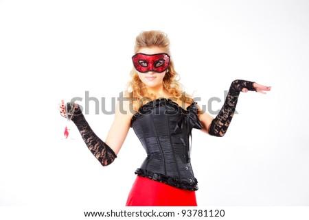 attractive woman in carnaval mask. studio shot - stock photo
