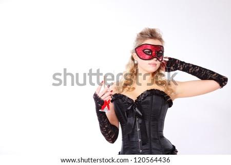 attractive woman in costume. studio shot - stock photo