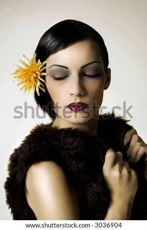 Attractive woman in fashion clothing. - stock photo