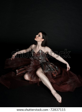attractive woman in fashion dress - stock photo