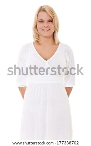 Attractive woman in light summer dress - stock photo