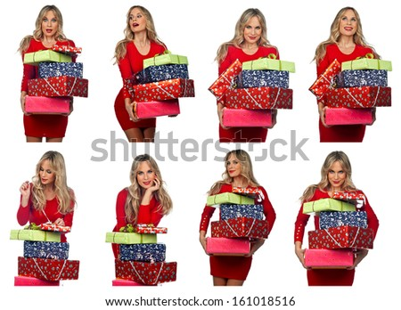 attractive woman in red holding christmas gifts collection - stock photo