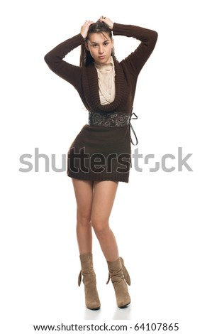 Attractive woman in short clothing on white - stock photo