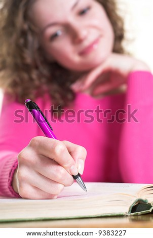 Attractive woman is dreaming about her future. - stock photo