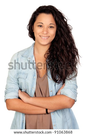 Attractive woman isolated on a over white background - stock photo