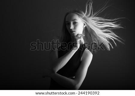 Attractive woman portrait, femme fatale concept - stock photo