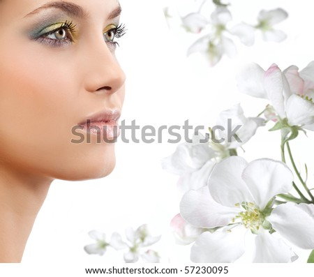 attractive woman portrait on white background closeup - stock photo