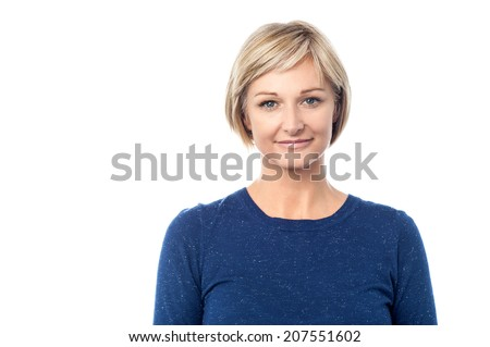 Attractive woman posing isolated over white - stock photo