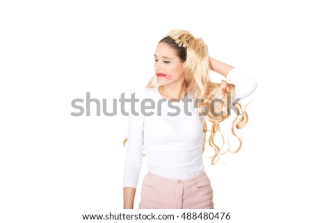Attractive woman pulls his wig out.