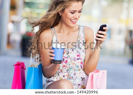 Attractive woman shopping - stock photo