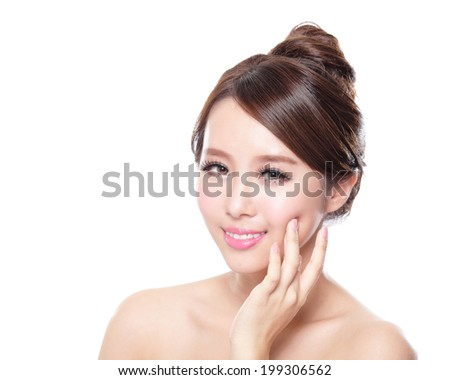 attractive woman smile face with health skin isolated on white background, asian - stock photo