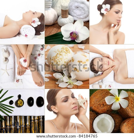 attractive woman spa and beauty collage - stock photo