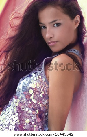attractive woman sunset portrait - stock photo