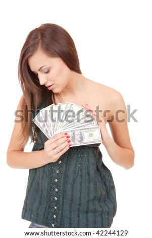 Attractive woman takes lot of 100 dollar bills isolated on white background