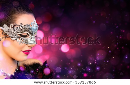 Attractive Woman wearing Carnival Mask  - stock photo