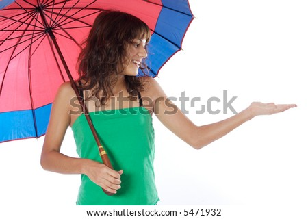 attractive woman whit umbrella a over white background