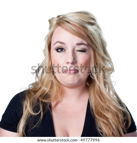 Attractive woman winking - stock photo