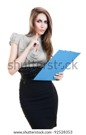 attractive woman with blue folder and pencil on white background