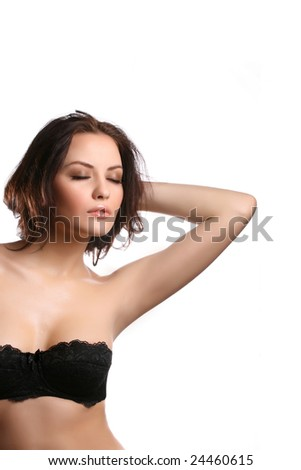 attractive woman with eyes closed on white background - stock photo