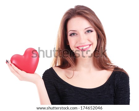 Attractive woman with heart, isolated on white