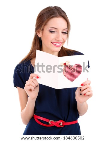 Attractive woman with postcard, isolated on white - stock photo