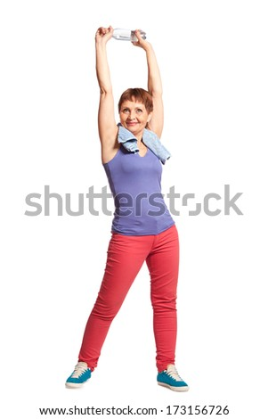 attractive woman 50 years doing fitness, isolated on white background - stock photo
