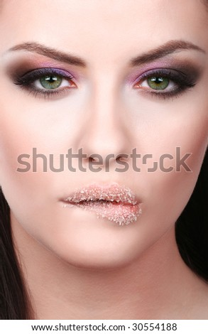 attractive young adult biting lip - stock photo