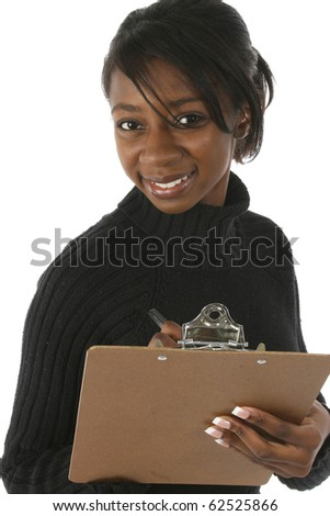 Attractive young african american beautiful woman writing on clipboard over white background. Looking at camera. - stock photo