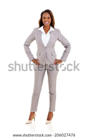 attractive young african businesswoman posing on white background - stock photo