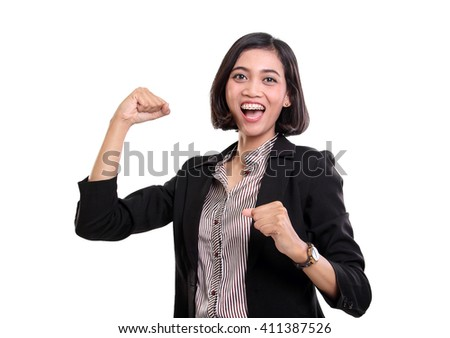Attractive young Asian business woman feels excited, looking at camera with enthusiastic gestures, isolated on white background - stock photo
