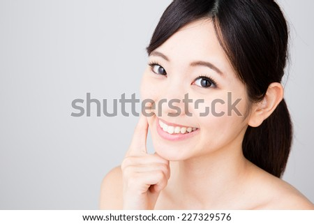 attractive young asian woman beauty image on white background - stock photo