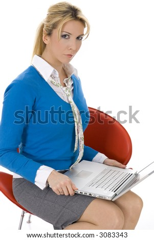 Attractive young beautiful businesswoman working on notebook isolated on white - stock photo