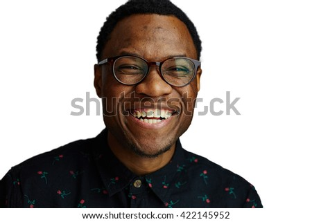 attractive young black male studio smiling at camera and laughing isolated on white