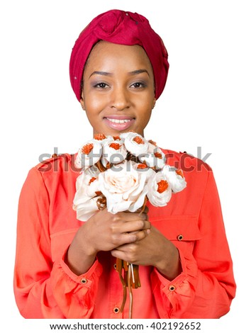 Attractive young black woman holding bouquet of flowers - stock photo