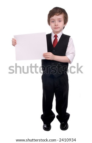 attractive Young boy holding blank white sign wearing a tie - stock photo