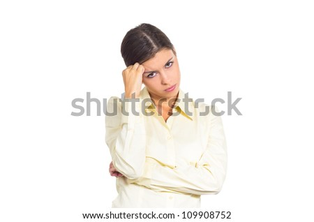 Attractive young brunette businesswoman considering difficult decision. Isolated against white background.