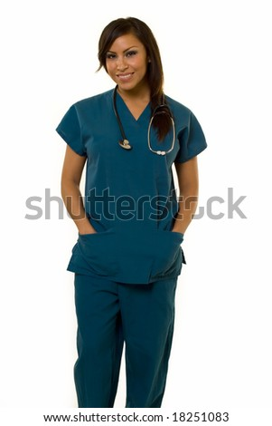 Attractive young brunette Hispanic woman health care worker standing with a smiling friendly expression on white