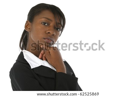 Attractive young business woman in suit looking serious at camera over white background. - stock photo