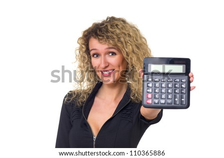 Attractive young business woman with curly hair shows calculator in her hand. Isolated against white background.