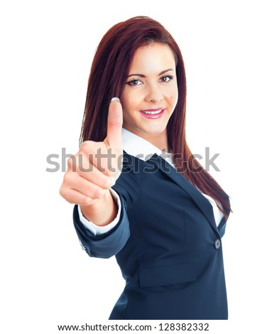 Attractive young business woman with thumb up, isolated on white