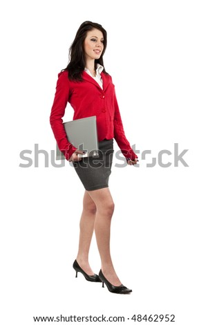 Attractive young businesswoman with folder isolated on white