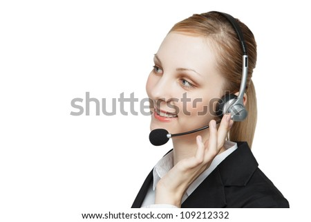 Attractive young businesswoman with headset, white studio background.