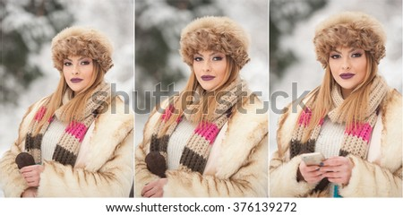 Attractive young Caucasian adult with brown fur cap. Beautiful blonde girl with gorgeous lips and eyes wearing fur hat, outdoor shot. Makeup - sensual long fair hair female art portrait, winter season - stock photo