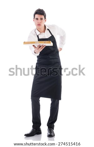 Attractive young chef or waiter holding pizza box isolated on white background - stock photo