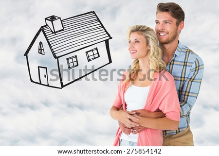 Attractive young couple embracing and smiling against cloudy sky - stock photo