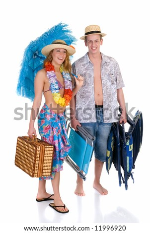 Attractive young couple in beach clothing, going on vacation.  Studio shot, white background, reflective surface - stock photo