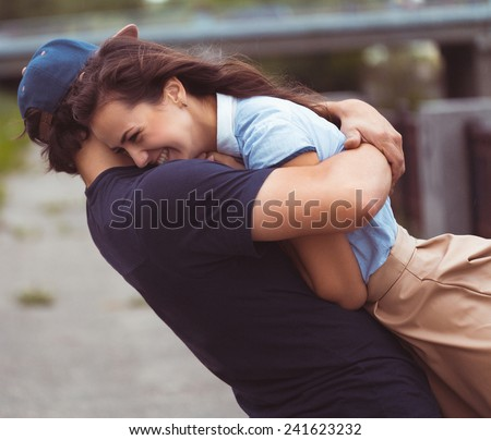 Attractive young couple in love - happiness concept - stock photo